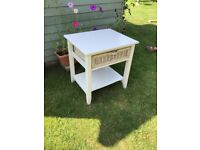 Shabby chic upcycled small table with wicker drawer