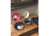 Set of 4 new round mirrors modern grey circular decorative prop