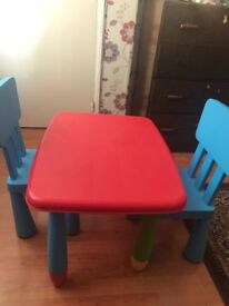Children table with two chairs