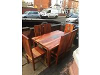 Lovely solid oak sheesham dining table with 6 solid chairs