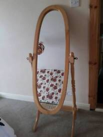 Beautiful oval wooden frame mirror