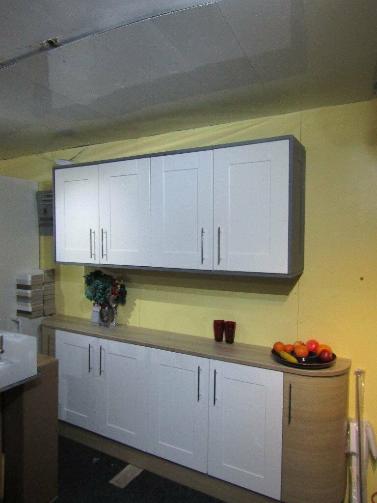 Ex Display kitchen units for sale oak white shaker curved units | in ...