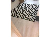 IKEA Rug, low pile LAPPLJUNG RUTA White/black