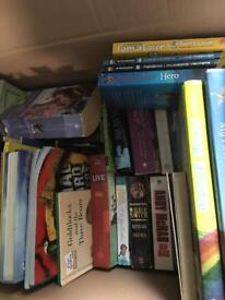 Box of mixed books, children's and adults fiction for a car boot
