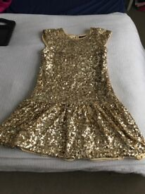 Gold Girls Occasion Dress Age 11-12