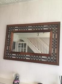 Wood and iron mirror