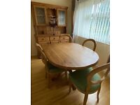 BESPOKE PINE DINING TABLE & 4 LARGE COMFY CHAIRS