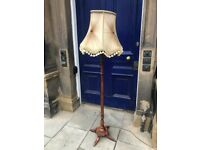 Mahogany Standard Lamp , with brass feet . Size - H 170cm ( With shade)