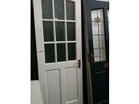 Exterior door with frosted glass panels