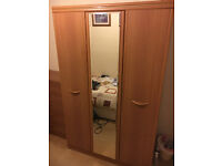 Chest of Drawers, Bedside Chest of Drawers and Double Wardrobe w/Mirror (Set)