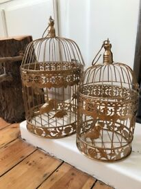 6 sets of GOLD 1 Medium 19'' and 1 smaller 13'' bird cage. (£10 each or all for £50)