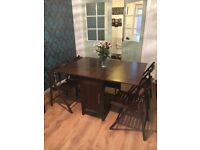 Drop Leaf Dining Table + 4 Fold Away Chairs