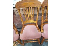Set of 4 Very Nice Carved Dark Pine Dining Chairs