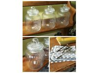 3 large glass jars (inc. Tongs and 50 bags)