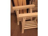 2 x White Ikea Trestles