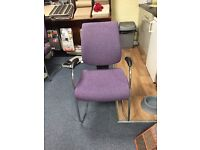 2 purple office chairs and 2 desk chairs