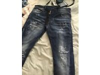 Brand new dsquared2 jeans with tags still on with paint splatter