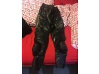 RST leather motorbike pants