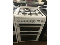 60CM WHITE HOTPOINT GAS COOKER DUEL FUEL