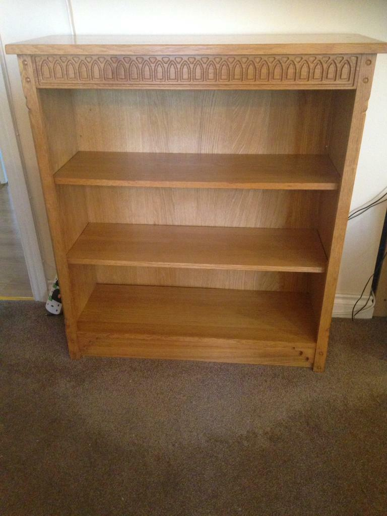 Wooden solid Oak bookcase- immaculate-£70 collect Po13