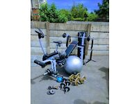 York exercise bike and bench Punch bag and wall bracket , belt gloves and selection of weights