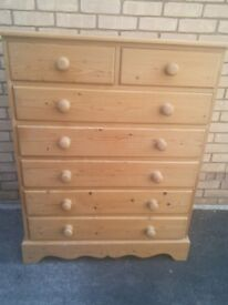 Solid Pine Tall Boy 2 + 5 Drawers