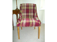 Red and gold Tartan chair in as new condition.