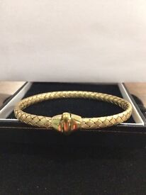 Bangle 9ct Yellow Gold Basket Weave / Pleat Design Ladies