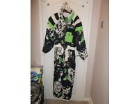 Ski suit all-in-one multi-coloured green/white/black ladies size 12