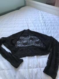 Black long sleeved bolero cardigan