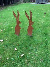 2 rustic rabbits for garden