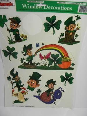 Vintage St Patricks Leprechaun Serigraph Window Decoration Clings Vinyl Decor](Leprechaun Decorations)