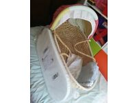 Moses basket with new mattress and three fitted sheets