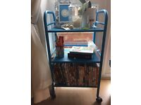Blue metal IKEA side table/storage unit