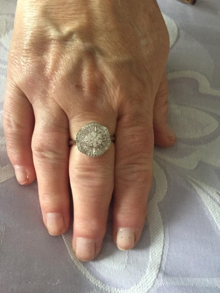 Platinum overlay diamond ring