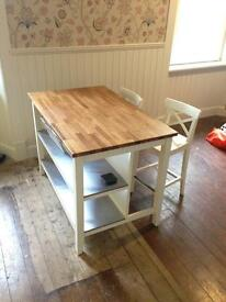 Solid Oak topped kitchen table and chairs.