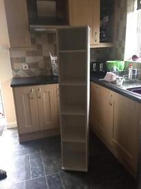 White free standing shelves