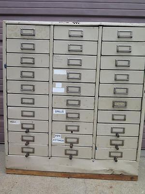 30 Drawer Tool Part Bin Metal Storage Cabinet Organizer Compartment 34 X 14 X 30