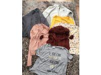 Ladies/teens Size 12 Bundle. Includes Disney top, fleece zip up, 2 Cardigans, Fur hood gilet with po