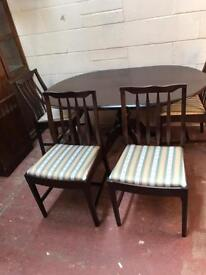 Solid wood stag dining table and 4 chairs