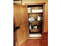 Antique stripped pine larder cupboard