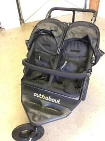 ** Great Condition ** Out n About Nipper V4 Double Pushchair Raven Black