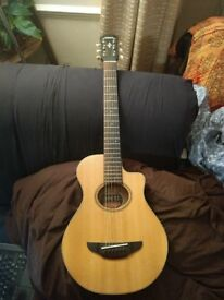Yamaha electroacoustic guitar APX T2 travel size (3/4) guitar natural with soft case, little use