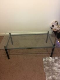 Glass top table excellent condition 50inc x 27inc collection only