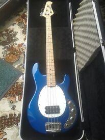 BASS GUITAR 4 STRING ERNIE BALL MUSICMAN STINGRAY 2 BAND EQ WITH HARD CASE.ELECRIC BLUE. CAN POST