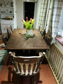 Large pub style table & 6 chairs