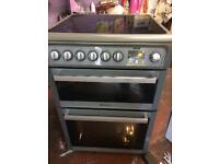 Silver Hotpoint 60cm ceramic hub electric cooker grill & double fan oven good condition with guara