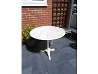 Marble Topped Circular Garden Table with Cast Iron Base