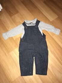 M&S dungarees with matching vest top 0-3 months
