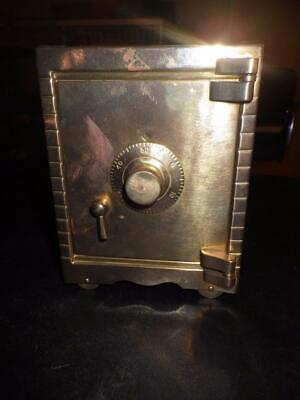 VINTAGE PROMOTIONAL WALGREENS BRASS MINI TOY  COMBINATION SAFE COIN BANK 1987